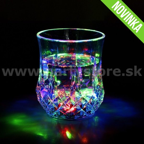 Svietiaci pohár LED - SOOGO DIAMOND MULTICOLOR - 200 ml, akryl